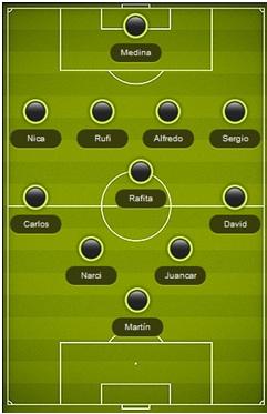 alineación Almaguer VS Bargas