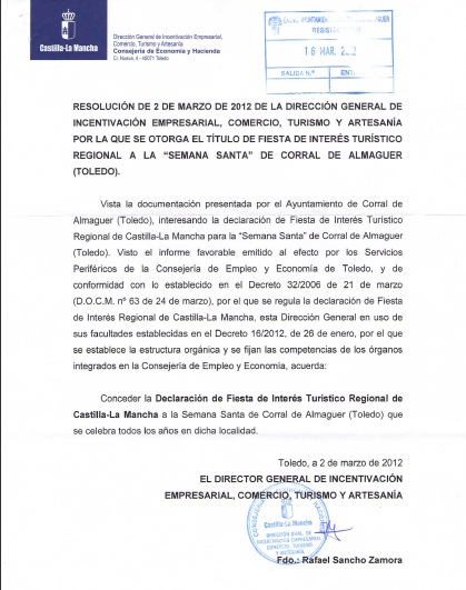 OTORGADO EL TÍTULO DE FIESTA DE INTERÉS TURÍSTICO REGIONAL A LA SEMANA SANTA DE CORRAL DE ALMAGUER TOLEDO