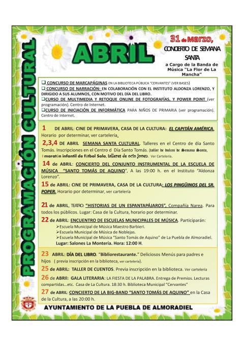 PROGRAMACIÓN PUEBLA DE ALMORADIEL ABRIL