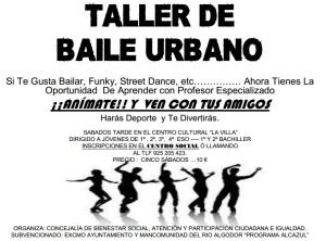 TALLER DE BAILE URBANO EN PUEBLA DE ALMORADIEL