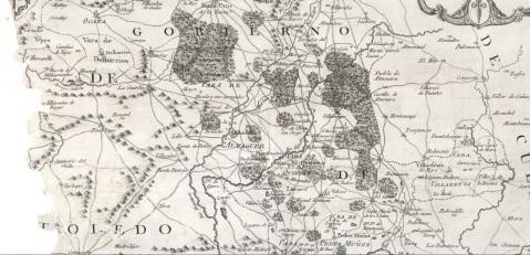 MAPA DEL GOBIERNO DE OCAÑA EN 1780 DONDE AÚN APARECE MARCADO EL ALFOZ DE ALMAGUER