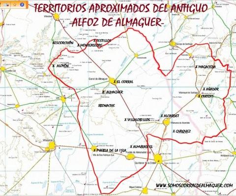 TERRITORIOS APROXIMADADOS DEL ALFOZ DE ALMAGUER