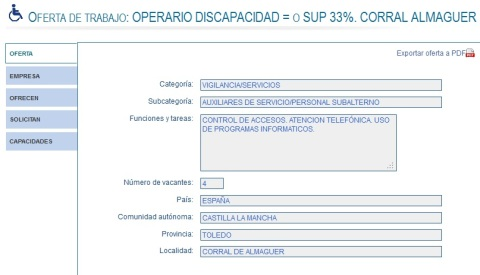 OFERTA DE Operario CON DISCAPACIDAD 33% O SUPERIOR