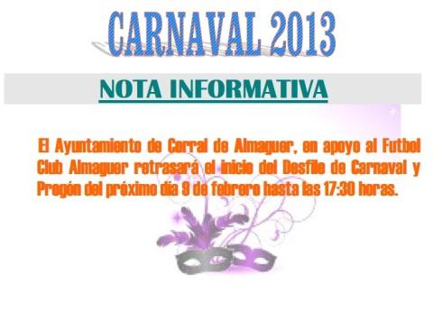 CARNAVAL 2013 CAMBIO HORARIO