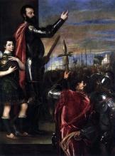 Alegoría del Marqués del Vasto arengando a las tropas, pintado por Tiziano (Museo del Prado)