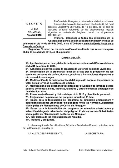 CONVOCATORIA PLENO CORRAL DE ALMAGUER